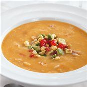 Crab Bisque with Avocado, Tomato and Corn Relish