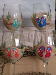 Flip Flops and Sunglasses by Yourlifeuncorked on Etsy, $15.00
