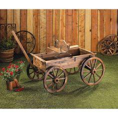 Rustic Wooden Wagon Garden Decor