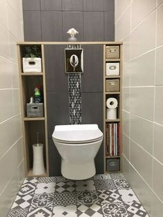 Guest bathroom with toilet closet makeover 24 Grey Toilet, Small Toilet Room, Bathroom Makeover, Wc Design, Bathroom Interior, Small Bathroom, Toilet Design, Bathroom Decor, Toilet Closet