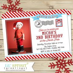 North Pole Santa Postcard Birthday Party by lilsproutgreetings