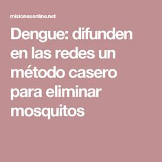 Dengue: difunden en las redes un método casero para eliminar mosquitos Dengue, Mosquitos, Cases, Bottles, Health, Insects, Doggies, Hacks