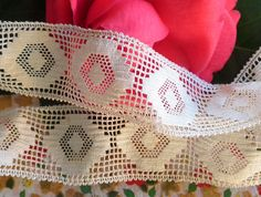 Antique Insertion Lace Rayon. Ivory Shade Unusual by ButtonBroker