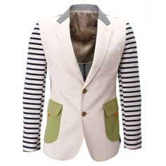 Mens Two Button Striped Sleeve Casual Blazer Jacket