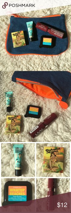 Makeup bag bundle 💕🛍 Cute denim and orange makeup bag from ipsy comes with the following samples: Bahama Mama bronzer (.02 oz); The PORE Professional PRO balm (.10 oz); Elizabeth Mott Whatup Beaches matte bronzer (.02 oz); NYX butter lipstick in ripe berry (.16 oz - full size). Everything is NWOT- never been used! Selling all together as bundle. Smoke-free home 😊 NYX Makeup