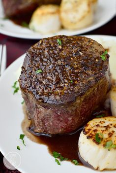 Surf and Turf for Two with sea scallops and filet mignon with rosemary-wine pan sauce is an elegant, decadent dish to make with a loved one at home!