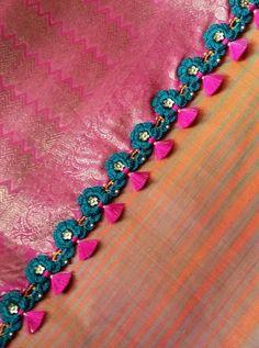 Saree Kuchu New Designs, Saree Tassels Designs, Fancy Blouse Designs, Bridal Blouse Designs, Saree Blouse Designs, Thread Bangles, Thread Jewellery, Half Saree Lehenga, Saree Border