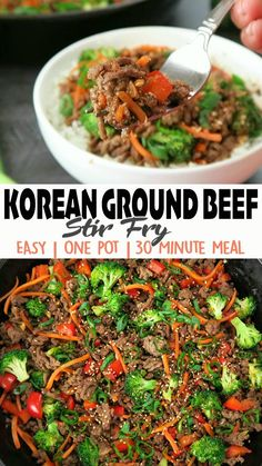 Korean Ground Beef Stir Fry is beef and veggies cooked in a sweetened soy sauce mixture. It's a healthy, quick & easy One Pot meal! 😋 Click 🔗for the full detailed recipe and full video! #koreanfood #groundbeefrecipes #30minutemeals #stirfryrecipes #healthyrecipe #onepotmeal Ground Beef Stir Fry, Easy Beef Stir Fry, Korean Ground Beef, Cooking Ground Beef, Healthy Stir Fry, Healthy Ground Beef, Ground Beef Recipes For Dinner, Dinner With Ground Beef, Pork Recipes