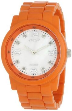 Sprout Women's ST5002MPOR Eco-Friendly Diamond Dial Orange Corn Resin Bracelet Watch Sprout. $65.00. Printed outside minute track. Silver-tone hour hands; Sweep second hand. Orange adjustable corn resin bracelet with butterfly deployment clasp. Mother-of-Pearl dial with silver-tone Arabic numerals at 12-3-6-9, 8 diamond markers. Orange corn resin case