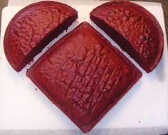 round cake + square cake = HEART CAKE!!!