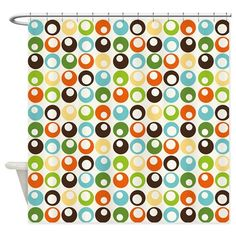 Retro Mod Abstract Circles Shower Curtain