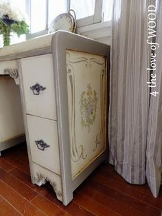 Chalk Paint® decorative paint by Annie Sloan in Coco on a hand painted desk   By 4 the Love of Wood