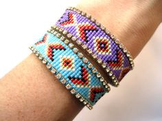 SALE Tribal bead loom bracelet by distinguishedjewelry on Etsy