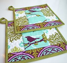 Little Bird Handmade Quilted Potholders  Set by TheMJCollection on #Etsy