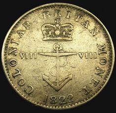 1822 British West Indies SILVER 1/8 Dollar SCARCE ANCHOR Coin! HIGH GRADE!