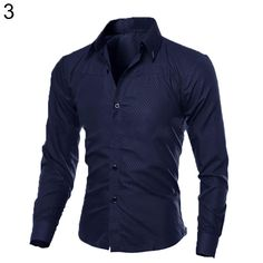 Men's Long Sleeve Slim Fit Shirt Button Front Business Work Formal Casual Top  #Affiliate