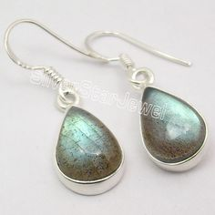 925 Silver LABRADORITE WONDERFUL Dangle Earrings 3.3CM #Dangle