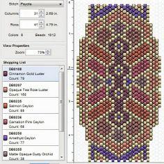 free beading peyote stitch pattern - click through to several great peyote designs! Peyote Stitch Patterns, Beading Patterns Free, Seed Bead Patterns, Beaded Jewelry Patterns, Beading Tutorials, Peyote Beading, Seed Bead Projects, Beaded Banners, Tutorials
