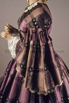 In the Swan's Shadow: Purple plaid silk dress, 1850s