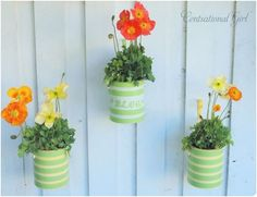 Pot diy.  How To Make a Paint Can Planter: Supplies:     Paint cans, recycled or new.  Plain metal paint cans are available at most home improvement stores.     Outdoor spray paint     Painter's tape and/or stickers for lettering     Hammer and nail     Hooks for fence (if you will be hanging your planters)