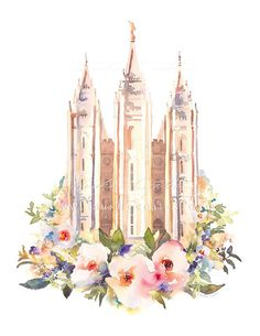 LDS Salt Lake temple watercolor painting by Tausha Coates