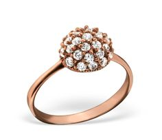 Rose gold plated sterling silver vermeil ring with a small half dome design, covered in cubic zirconia. Gold Gold, Silver Rounds, Beautiful Roses, Or Rose, Rose Gold Plates, Fashion Rings, Sterling Silver Rings, Heart Ring, Jewelry Making