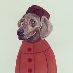 Watercolour & hand stitched #illustration with #1960s fashion inspiration #1960sfashion #pillboxhat #vintage #weimaraner #dogs #fetchandfollow
