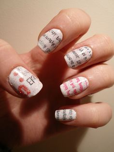 Newspaper print nail art