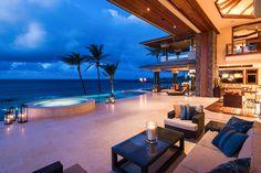 Where interior meets exterior. Beautiful Hawaiian Beachfront home by Smith Brothers. #BeachHome #Luxury #Home #Design