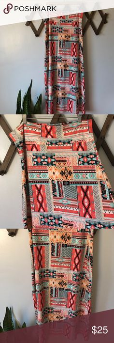 "Boho Tribal Print Maxi skirt Like new! Maxi multi colored tribal print skirt! Super soft, stretchy fabric. Perfect for summer! 43"" long. 🌵 Hot Kiss Skirts Maxi"