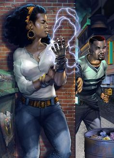 "Woman thwarting attacker with a magical gauntlet, urban fantasy inspiration ""Southside Nefertiti"", illustrated by Mshindo Kuumba. Characters from a comic of the same name, created by Black Love Art, Black Girl Art, My Black Is Beautiful, Black Girl Magic, Black Girls, African American Art, African Art, African Life, Cyberpunk"