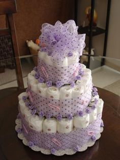 Looking down: What a gorgeous diaper cake! I love purple polka dots! Very nicely done! Bette submitted these pictures of her diaper cake to share her cute ideas with