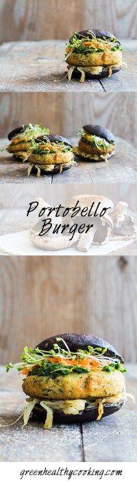 A Portobello Burger recipe a. THE most perfect vegan, gluten-free, grain-free, healthy burger on. (chickpea flour patties) use tamari, sub honey Tasty Vegetarian Recipes, Good Healthy Recipes, Easy Healthy Recipes, Healthy Cooking, Whole Food Recipes, Paleo, Cooking Recipes, Clean Eating Diet, Mushrooms