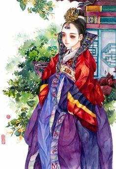 한복 Hanbok : Korean traditional clothes[dress] from Korean Anime, Korean Art, Asian Art, Korean Traditional Dress, Traditional Art, Traditional Outfits, Korean Illustration, Illustration Art, Korean Painting