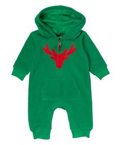 Another great find on #zulily! Green Reindeer Fleece Hoodie Playsuit - Infant #zulilyfinds