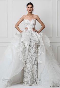 maison yeya 2017 bridal strapless sweetheart neckline full embellishment peplum a line overskirt elegant glamorous sheath wedding dress royal train (6) mv