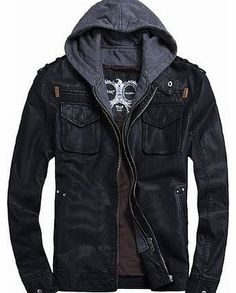 THOOO Mens Cool Zip Up Leather Hooded Biker Jacket Rock Punk Jackets Coat Black XXL THOOO stylish pu Leather Biker Jacket has that handsome, uniquely distressed finish associated with years of loyal wear,featuring hooded design with double zip up closure (Barcode EAN = 0303646014913) http://www.comparestoreprices.co.uk/leather-jackets/thooo-mens-cool-zip-up-leather-hooded-biker-jacket-rock-punk-jackets-coat-black-xxl.asp