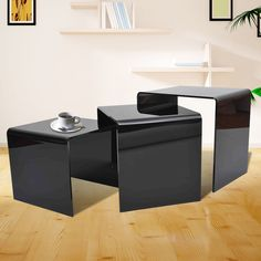 Futuristic black acrylic coffee table furniture design pinterest acrylic nesting table 3pc display stands end side coffee table black promotion homcom modern watchthetrailerfo