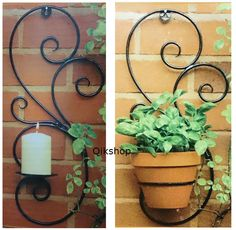 Wall Mount Candle,Pot Holder Swirl Metal Adorn Plants,Candle Indoor/Out Door