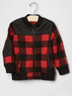 GAP Boy Buffalo Mix-Fabric Sweater Fleece Jacket Plaid Red Black Quilted 4T 5T #Gap #Jacket #EverydayHoliday