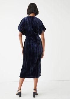 Velvet Wrap Midi Dress - Blue - Midi dresses - & Other Stories GB