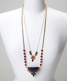 Red & Blue Double Strand Cuzco Necklace by La Radiant #zulily #zulilyfinds