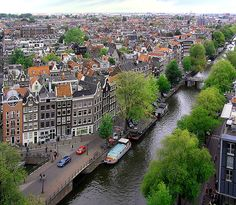 "Amsterdam - view from the Westerkerk (""western church""), built in 1620-1631 after a design by Hendrick de Keyser. The church is in Amsterdam's Jordaan district, at the bank of the Prinsengracht canal. The spire is the highest church tower in Amsterdam, at 85 meters. #amsterdam #holland"