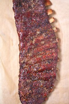 """Competition Style Smoked Pork Ribs What we have learned about competition style ribs, along with a recipe and an explanation of the Method"""" of smoking ribs. Smoked Meat Recipes, Barbecue Recipes, Grilling Recipes, Pork Recipes, Healthy Grilling, Oven Recipes, Barbecue Sauce, Sausage Recipes, Cooker Recipes"""