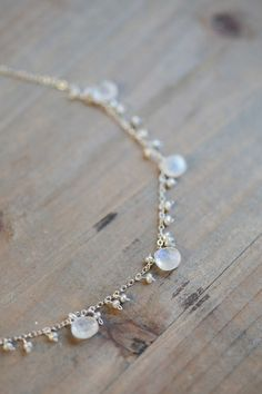 Pearl and Moonstone Necklace, Delicate Bridal Jewelry, Freshwater Pearl Necklace, Rainbow Moonstones, White Stone Necklace on Etsy, $126.00