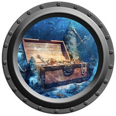 Underwater Treasure Chest Porthole Vinyl Wall Decal