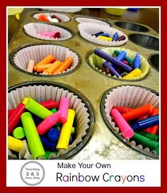 Teaching 2 and 3 Year Olds: Make Your Own Rainbow Crayons