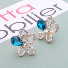 Korean Fashion Crystal Opal Earrings Ear Buckle Crystal Cherry Variety of Factory Outlets