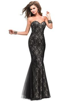 2014 Chic Evening Gown Purple Sweetheart Mermaid Floor Length Corset Black Lace Tulle Illusion