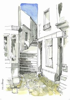#UrbanSketch, #Architecture, nice light watercolor washes on pen and pencil street sketch.